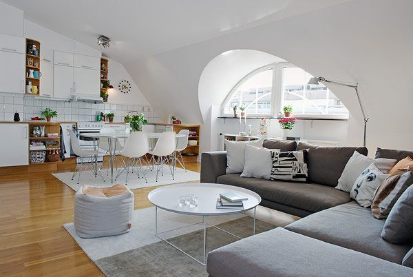 Inspiring Attic Apartment Showcasing Charming Details in Sweden: Living Rooms, Open Plans, Attic Apartment, Open Spaces, Window, Dreams House, Interiors Design, Sit Rooms, Salons