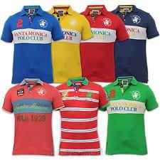 Mens Polo T Shirt Pique Santa Monica Short Sleeved Collared Summer Casual New