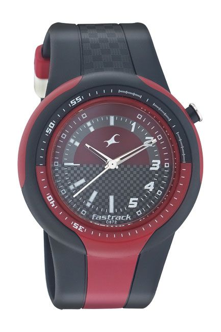 9297 is a large sporty case with an integrated strap. There are elements of Red in the case and strap. This watch also features an offset crown.. Sport from Fastrack http://www.fastrack.in/product/n9297pp02/?filter=yes=sport=2=995=3495=12
