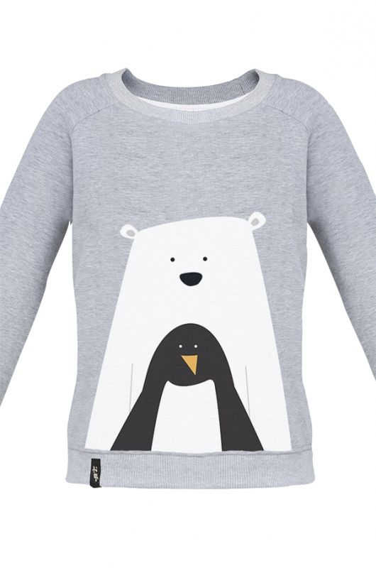 MATRYOSHKA BEAR WITH PENGUIN Very feminine sweatshirt made of high quality fabric in heather gray. Beautifully finished, with a fashionable cut, specially designed with comfort in mind and to meet the exacting demands of its user. Composition: 90% cotton, 10% polyester. Durable print. Created specifically for MTL by an extremely talented Polish graphic designer Kasia Manecka. Graphics by Kasia are fun and evoke a memory of polar climate. #meetthellama #graphic #pyjama