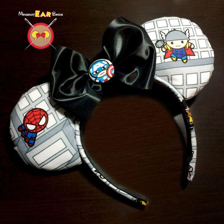 Marvel Cartoon Superhero Mickey Ear Headband by MouseketEarBands on Etsy https://www.etsy.com/listing/268321668/marvel-cartoon-superhero-mickey-ear