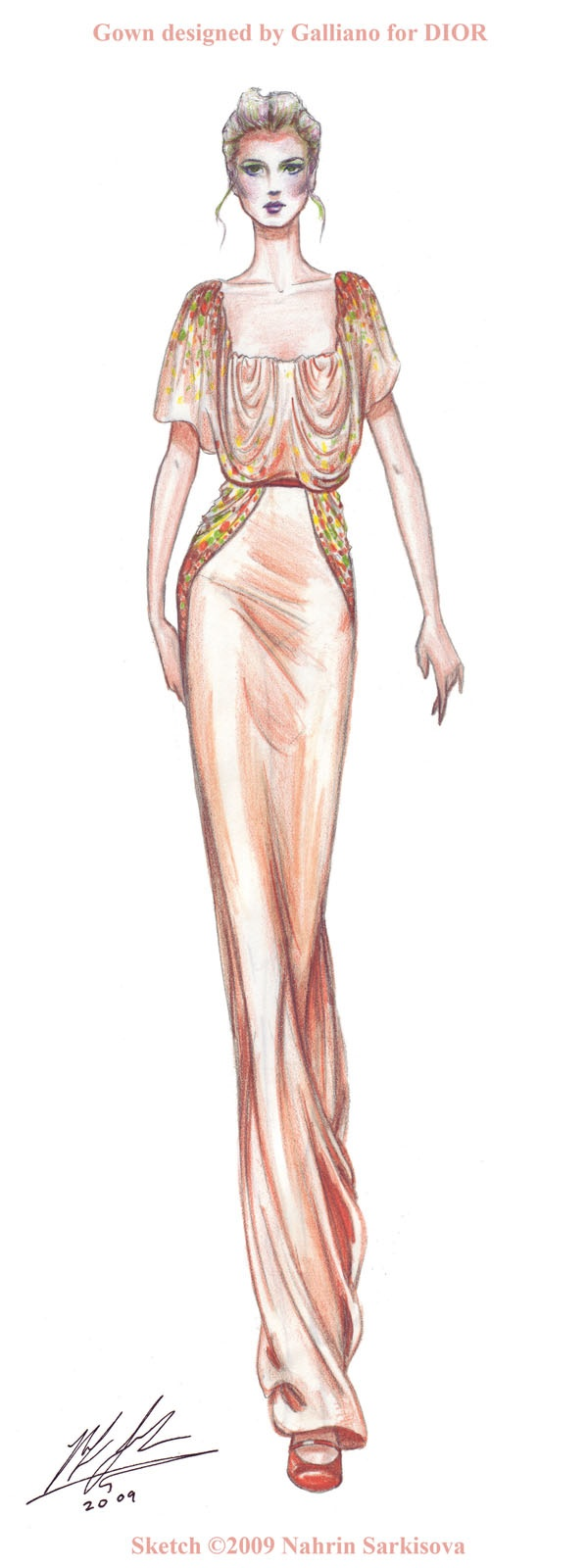 Nahrin Sarkisova: Another sketch of mine I did of DIOR gown.