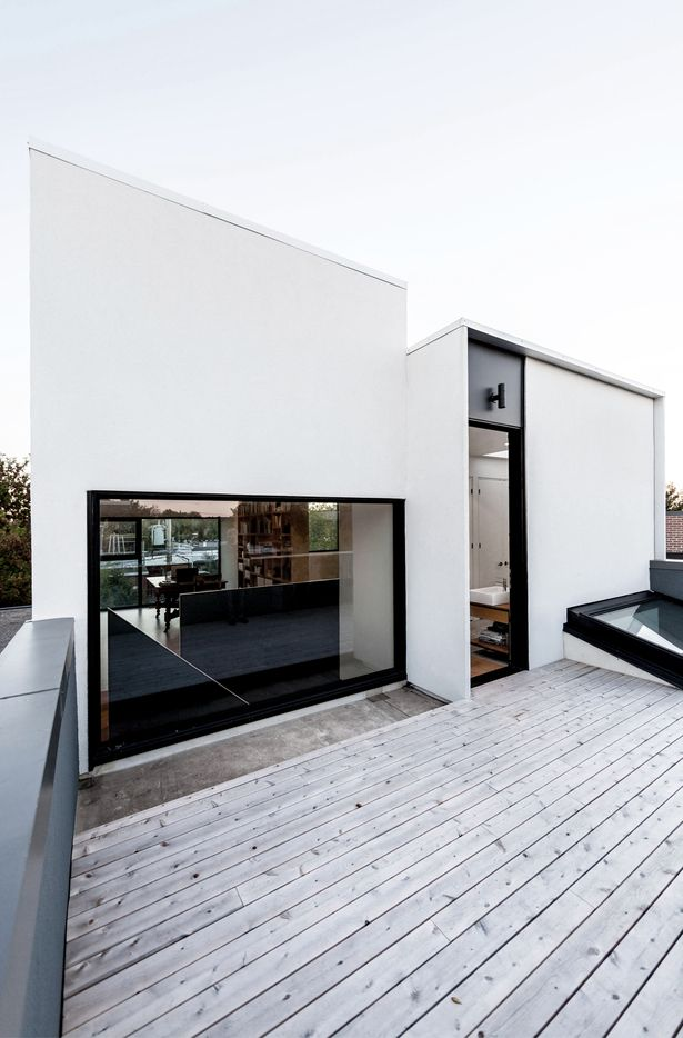 white stucco with black windows -- Alma Street | T B A | Archinect