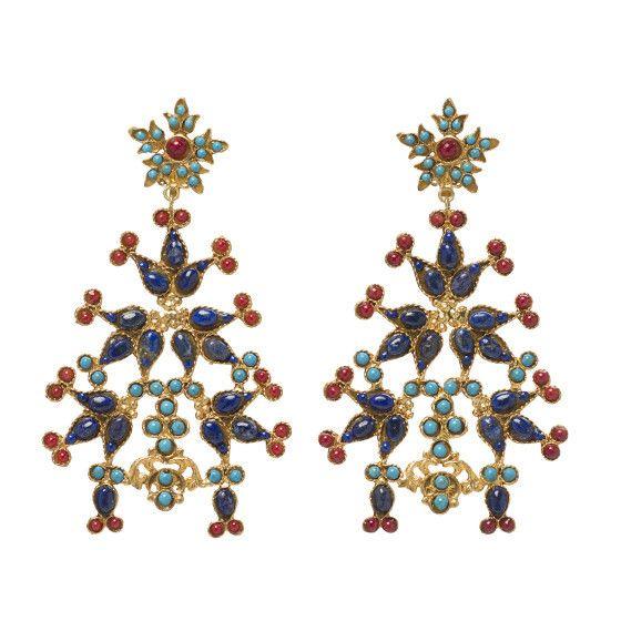 Sabina Earrings Gold & Multi