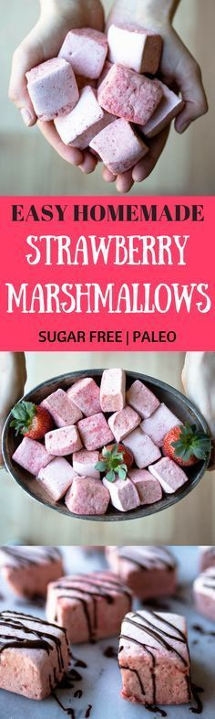 Easy homemade marshmallows! Best Sugar free healthy Marshmallows! Paleo strawberry marshmallows recipe. Easy Paleo gluten free dessert and snack recipe. Healthy paleo candy recipe.