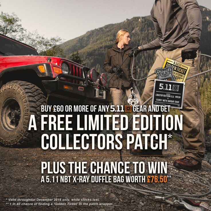 Buy any 5.11 Tactical products worth £60 or more from Military 1st online store and get a free Limited Edition collectors patch and a chance of winning 5.11 NBT X-Ray Duffle Bag worth £76.50! Hurry up: this special offer is valid only while stocks last.