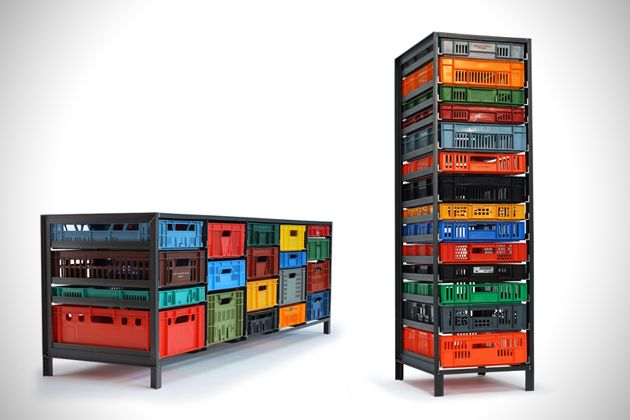 Recylced Plastic Crates Turned Home Storage Solution (3)