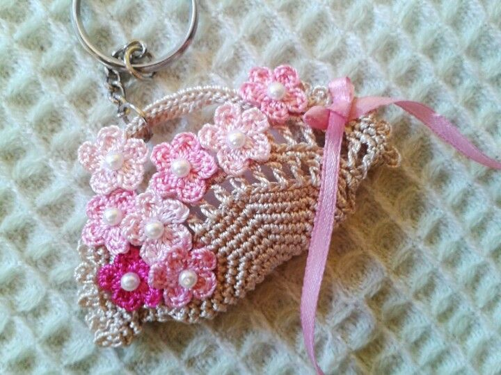 Basket of flowers keychain..