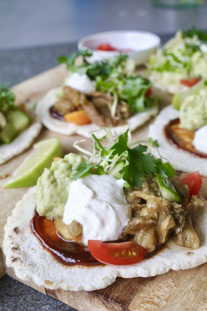 mexicaanse taco's met pulled aubergine | beaufood recepten - food