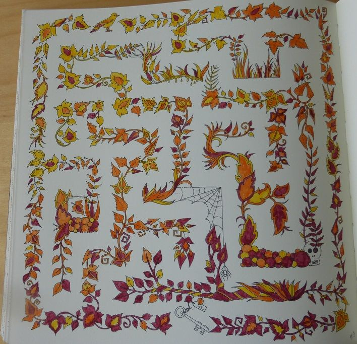 Johannabasford Labyrinth Enchantedforest Enchanted Forest Coloring Adultcoloring Orange