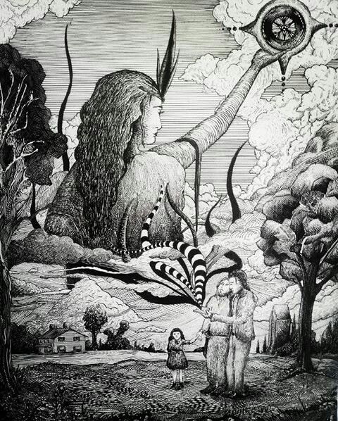 Pen and Ink illustration by Eli Evangelidis. 2 brothers, one an Uncle holding his neices hand as her father opens a revealing book of ancient knowledge, summoning a goddess filling the sky with a symbolic relic displayed for mankind to consider. Set 1975, America.
