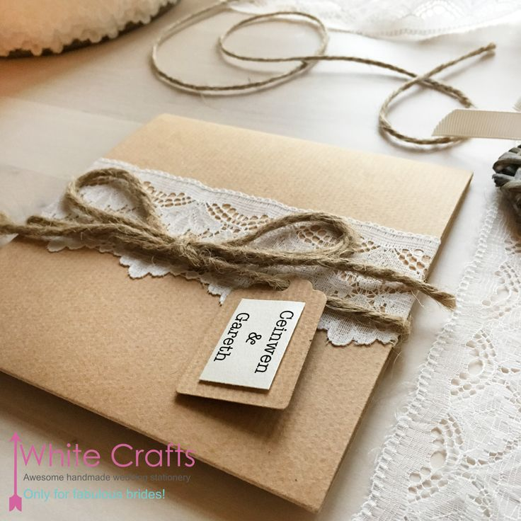 lace, string and kraft brown paper style rustic wedding invitation 'tying the knot' www.whitecrafts.com Invitations | White Crafts #Rustic #RusticWedding #CountryWedding #LaceWedding #FarmWedding #RusticWeddingInvitation