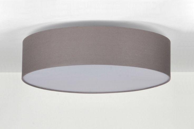plafondlamp 71392: modern, metaal, stof, grijs, rond ...
