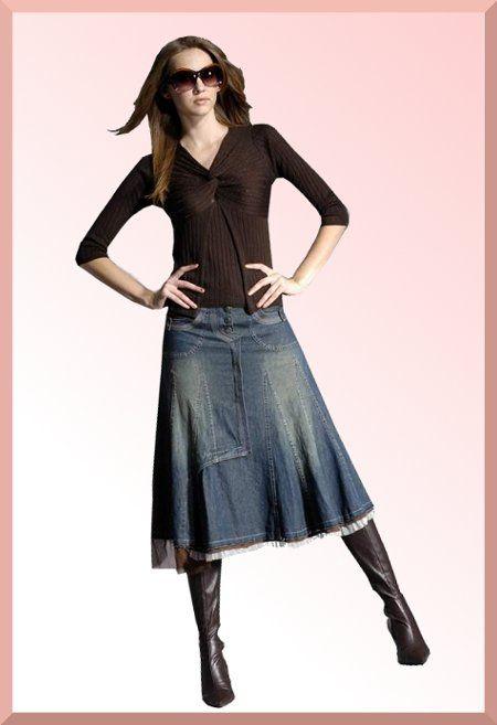 Модные джинсовые юбки длинные