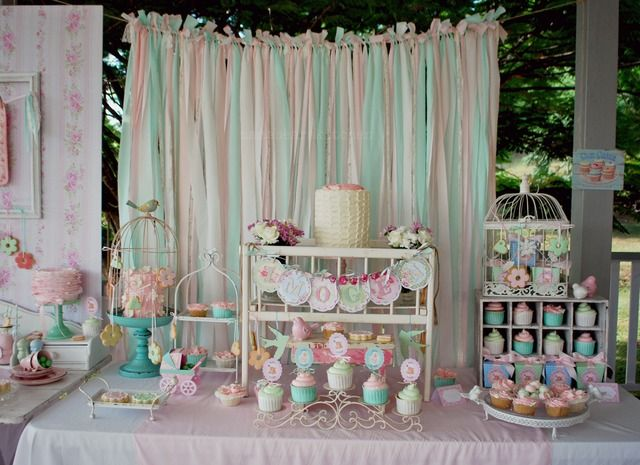 Shabby Pink and Mint Baby Shower Baby Shower Party Ideas | Photo 20 of 79