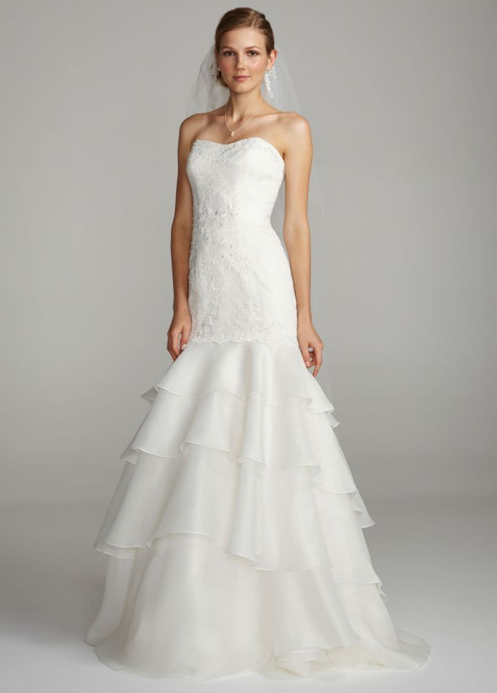 Melissa Sweet Floral Lace Trumpet Wedding Dress Style AI25080482