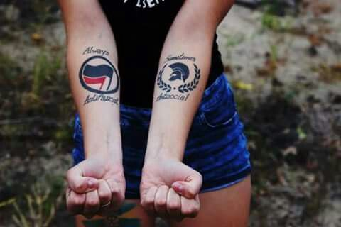 Sometimes antisocial, always antifascist tattoo