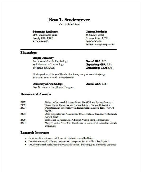Curriculum Vitae Undergraduate Student Example Five Mind Blowing Reasons Why Curriculum Vit Curriculum Vitae Student Resume Template Curriculum Vitae Examples