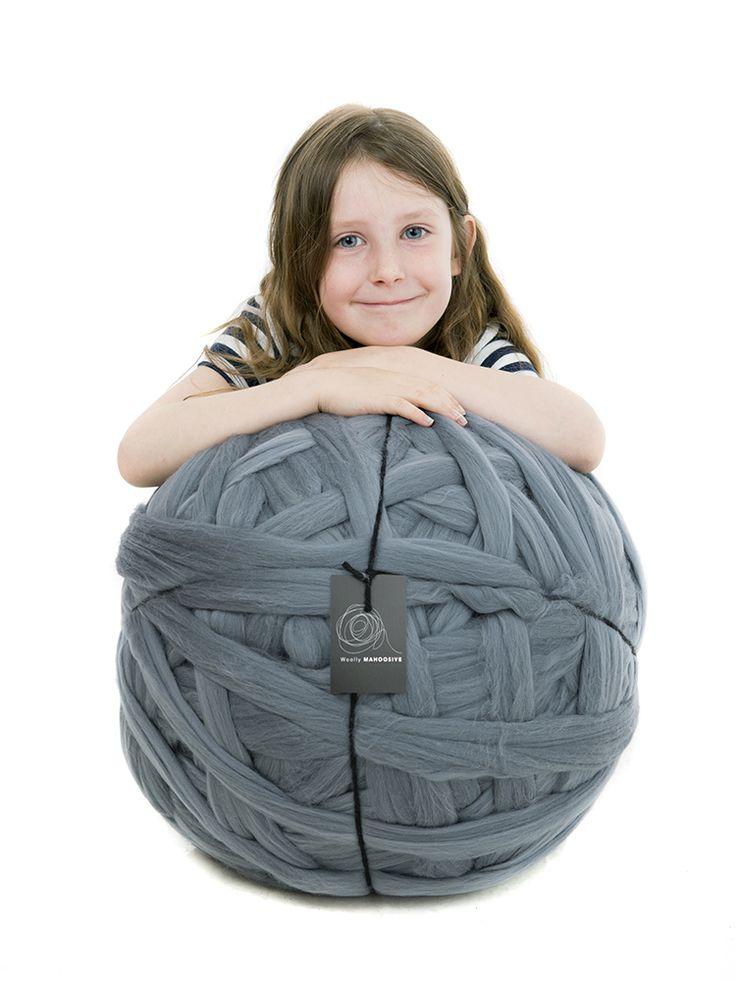 Slate grey.giant merino yarn for giant knitting needles. Fabulous blanket yarn.