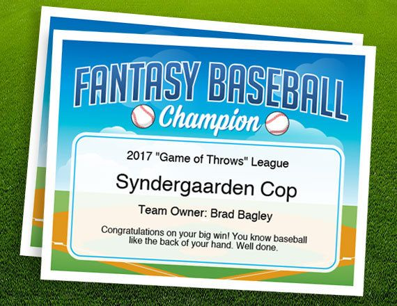 Fantasy Baseball Champion Certificate - A template to create a keepsake award for the champ in your league.