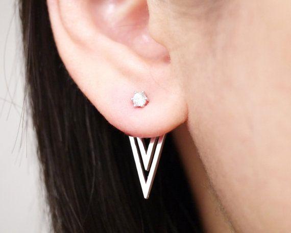 Silver Triangle Ear Jacket Earrings, Two Side Earrings, Ear Jackets
