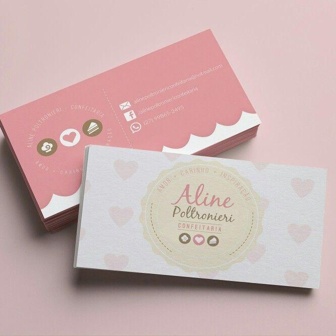 Cartão de visita: confeitaria Aline Poltroniere.
