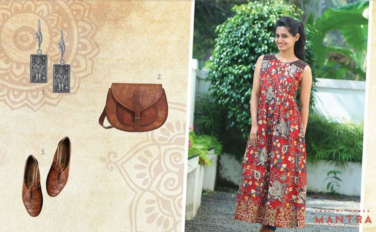When your garment has lovely, bold prints as seen on this Kalamkari kurti, keep it simple with minimal accessories, that are subtle yet elegant! Here we have a vintage, leather satchel, intricately perforated brown leather oxfords and beautiful ethnic, silver earrings! SHOP for Timeless Kalamkari at http://bit.ly/1QBEoWg Kalamkari kurti - SHALINI JAMES' MANTRA Silver earrings - JAYPORE Leather bag - VIDA VIDA Oxfords - SIMPLE VINTAGE