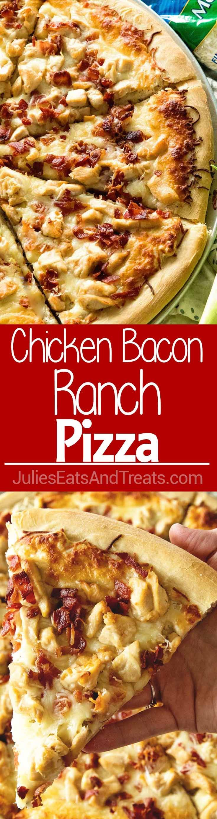 Chicken Bacon Ranch Pizza ~ Delicious Homemade Pizza Piled with a Creamy Ranch Sauce, Chicken, Bacon and Cheese! Perfect for Pizza Nights at Home! via @julieseats