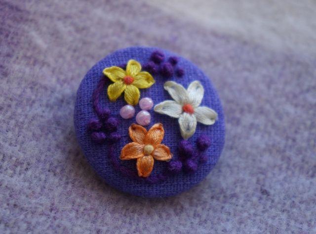 """Брошка """"Летний вечер"""". Handmade. Embroidery ribbons. Brooch """"Summer evening"""""""