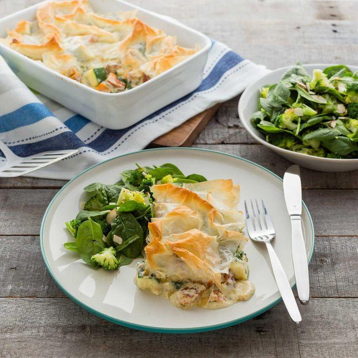 Creamy Filo Pot Pies with Warm Almond Broccoli Salad