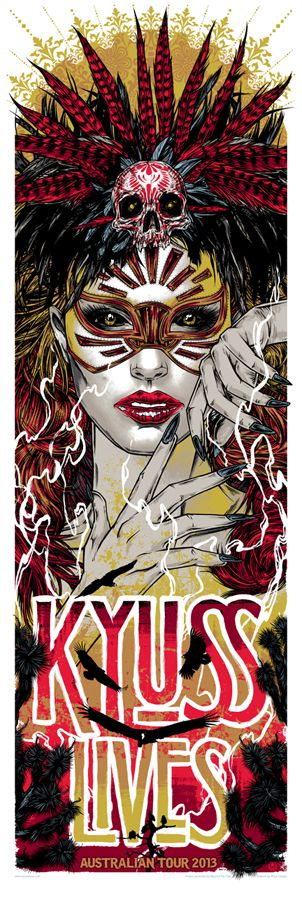 Kyuss Lives Australian Tour Poster Sérigraphie de Rhys Cooper Long format: 89 x 30,5 cmSérigraphie + encre métallisée numérotée et signée par l'artiste