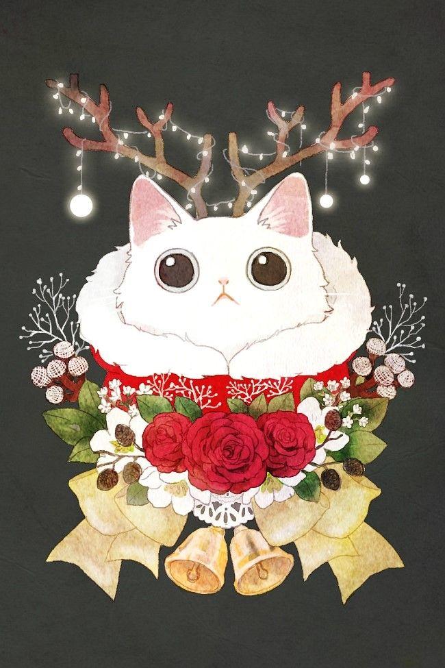 보들캣 크리스마스 일러스트 고양이 일러스트 네이버 블로그 크리스마스 그림 귀여운 고양이 그리기 고양이 그림