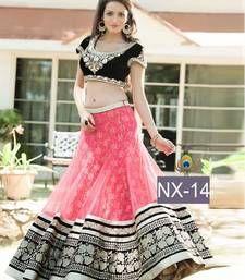 Buy Pink embroidered Georgette Semi-stitched lehenga-choli ghagra-choli online