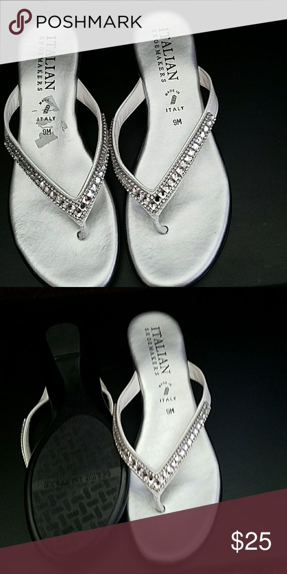 Sandles Nice grey sandles made In italy with rhinestone Italian show maker Shoes Sandals