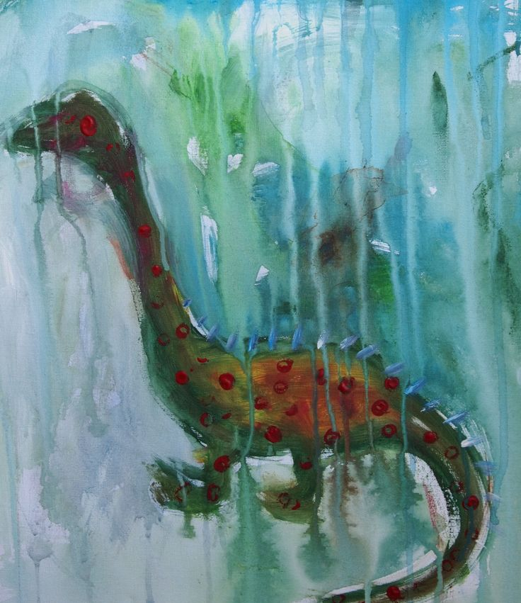 Dinosaur painting with help from my 2 year old son!
