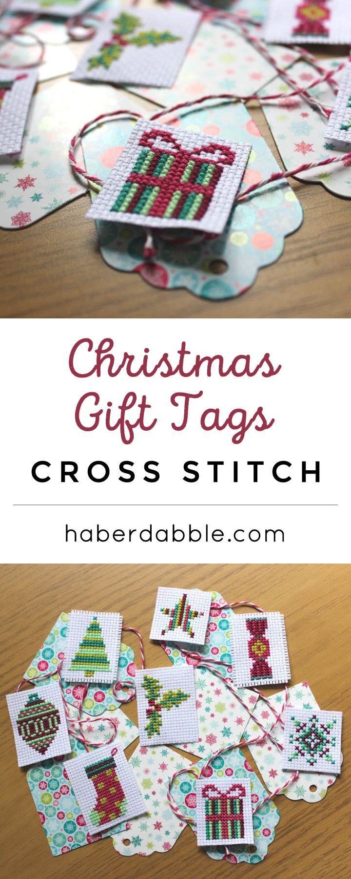 Christmas Gift Tags Cross Stitch | Haberdabble