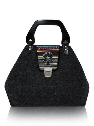 Foldable graphite felt bag with embroidered flap GODDESS COLOUR | SoLime www.solime.com.au
