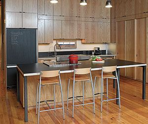 FHB Oct 2013: like the thin legs (never like the thick Victorian furniture Schlick), grab bar also slick. Loft living. The open kitchen in this loft sits adjacent to the living room. Designed for entertaining and for its passionate cooks, the kit...