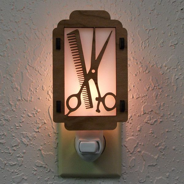 Comb and Scissors Night Light with Barber Pole sides. $12.00, via Etsy.