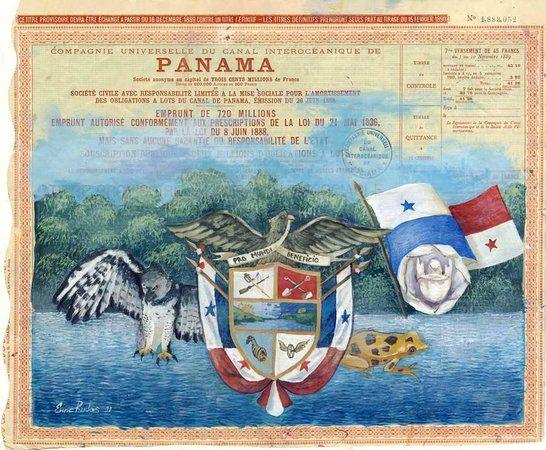 Simbolos patrios de Panama, pintado sobre un bono original del ...