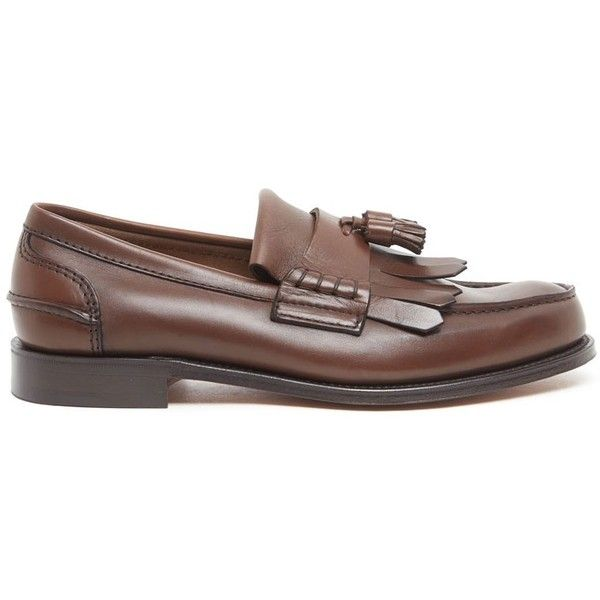 CHURCH'S 'Oreham' Loafers (26.010 RUB) ❤ liked on Polyvore featuring men's fashion, men's shoes, men's loafers, mens loafer shoes, mens tassel shoes, mens leather shoes, mens brown loafer shoes and mens tassel loafer shoes