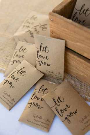 Let love grow seed packet wedding favors