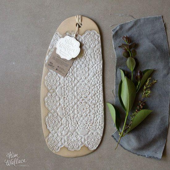 Small Vintage Lace serving board ~ natural 08, Handmade Australian Ceramics - KW Ceramics