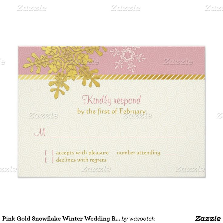 Pink Gold Snowflake Winter Wedding Reply Card