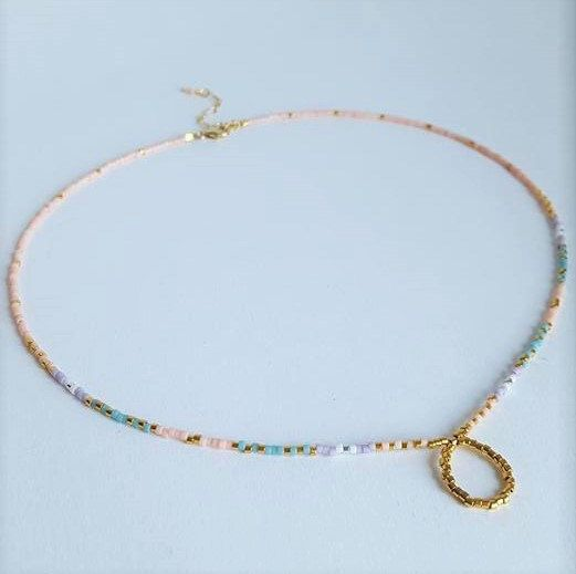 Princess Collar Necklace // Eternity Necklace // Gold Circle Necklace // Pastel…
