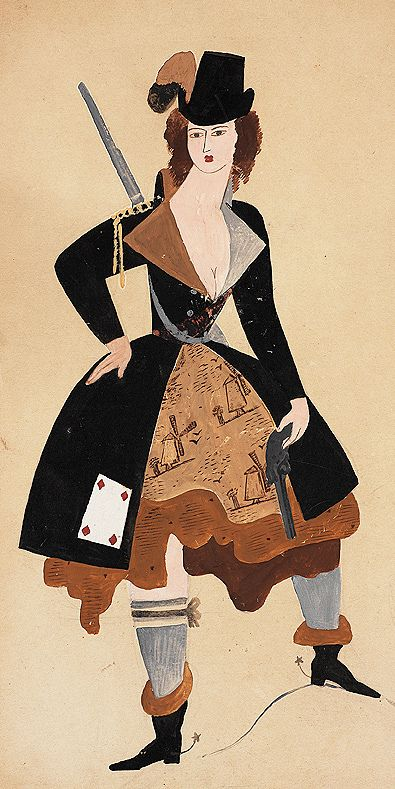 Costume Design for Giselle, Ballet Russe, Paris 1930, by Lev Vasil'evich Zak (aka Leon Zack)