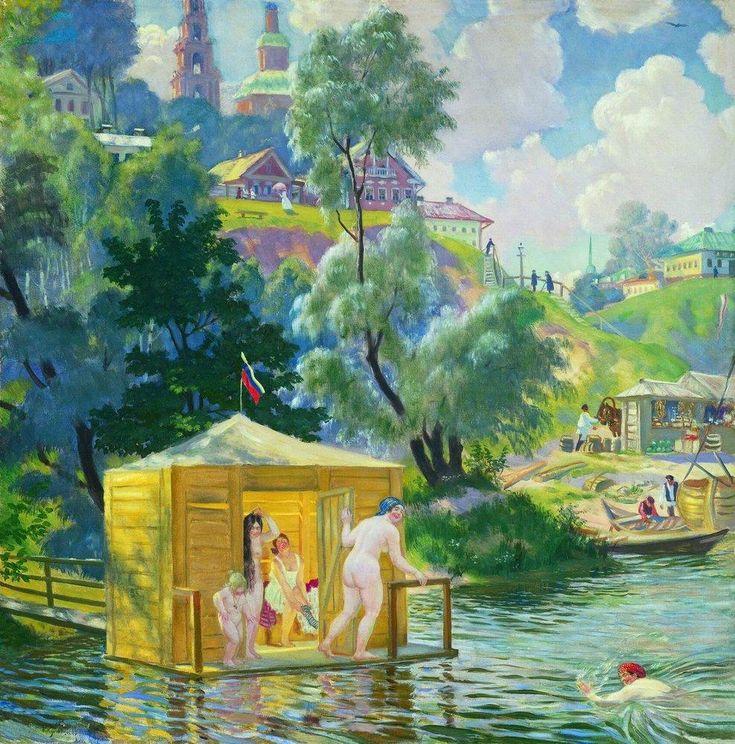 Boris Kustodiev (Russia, 1878 – 1927)  Bathing, 1921