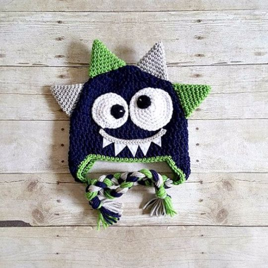 Crochet Monster Hat Beanie Newborn Baby Infant Toddler Child Adult Photography Photo Prop Handmade Baby Shower Gift Present
