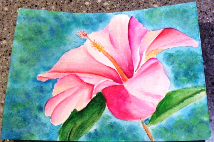My Hibiscus flower in Watercolor. Made this with the intention of giving it to a very distant friend, but now I kinda want to use it for my watercolor journal. I must think.