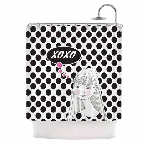 Zara Martina Mansen XOXO Pop Art Polka Dot Girl Black White Shower Curtain